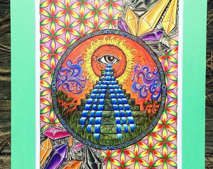 Oneness Matted Print By Melanie Bodnar Enlighten Clothing Co Flower Of Life Crystals Pyramids