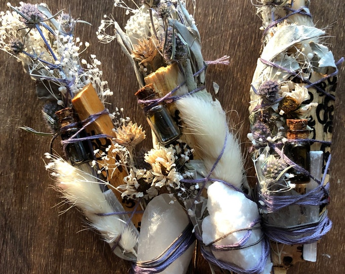 Crown Chakra Quartz Crystal Natural Air Freshener With Sage, Palo Santo, Selenite, Wormwood And Lavender Essential Oils. Handmade By Enlight