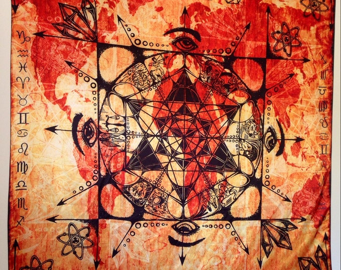 Metatrons Zodiac Sacred Geometry Tapestry. Design By Melanie Bodnar For Enlighten Clothing Co.
