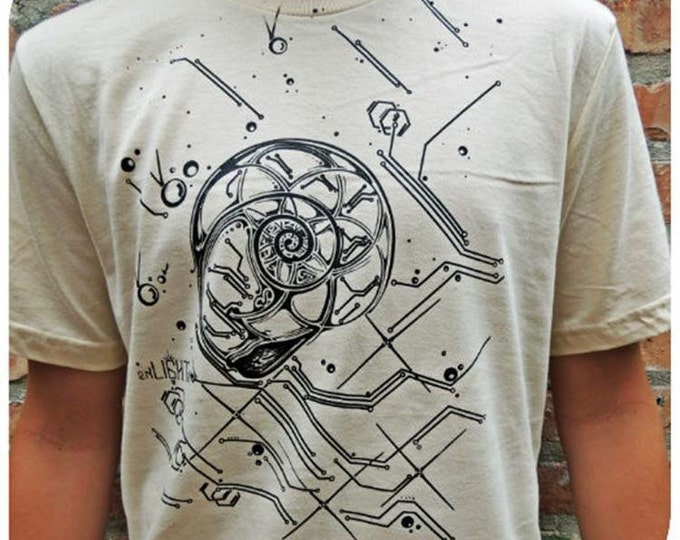Nautilus Organic Cotton Fibonacci Golden Mean Tee, Artwork by Tyler Epe, Concept By Justin Chamberlain. Hand Drawn And Printed, USA Made.