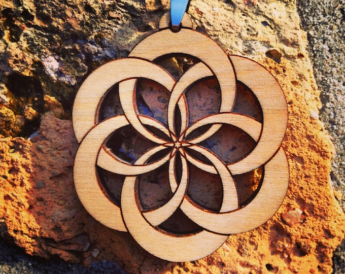 The Seed Of Life, Wood Engraved Pendant.