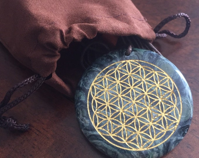 Flower Of Life Kambaba Jasper Pendant. Etched and inlayed with 18k gold flake.  Original Sacred Geometry Jewelry by Enlighten
