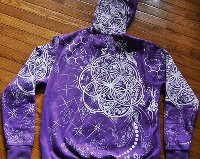 Seed of life, molecule flower hoodie. Original sacred geometry clothing by enlighten clothing company.