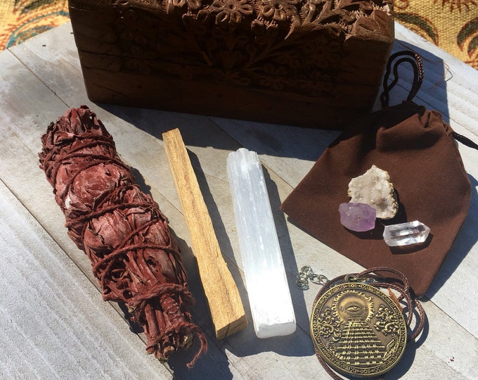 Sage Palo Santo Crystal Gift Box Set By Enlighten Clothing Co