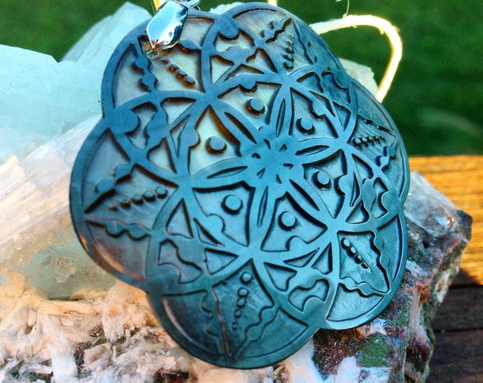Seed Of Life Shell Pendant.  Original Sacred Geometry Jewelry by Enlighten