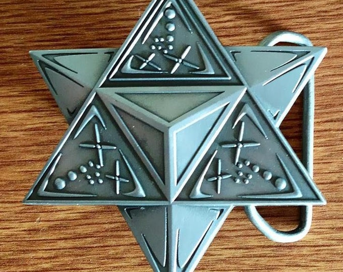 ON SALE!! Merkaba Sacred Geometry Belt Buckle, Original Design By Tyler Epe. Original Sacred Geometry Belt Buckles by Enlighten