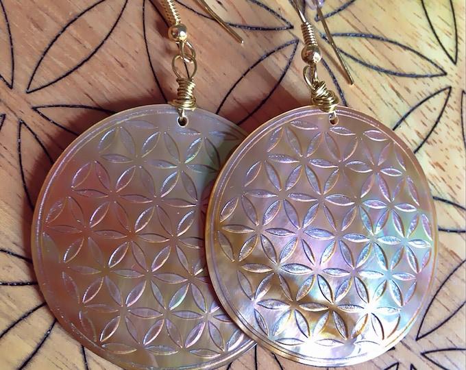 Pink flower of life mother of pearl earrings.  Original Sacred Geometry Jewelry by Enlighten