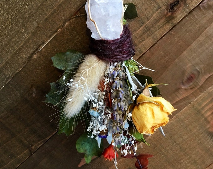Crystal Bouquet Pendant With Dried Roses, Lavender, Sage and More!