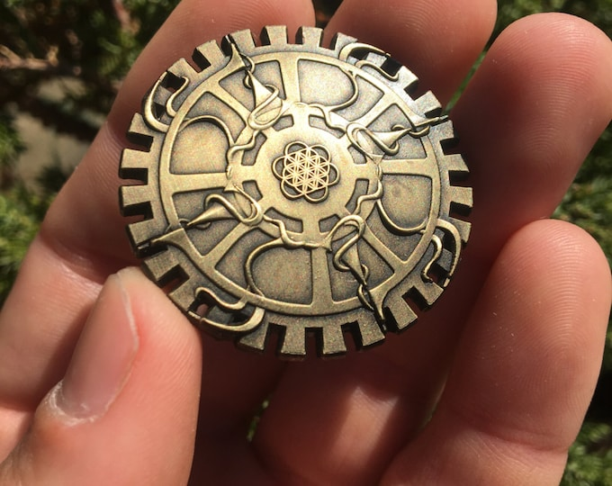 Steampunk Gear Flower Of Life Pin Original Design By Rachel Blasi For Enlighten Clothing Co