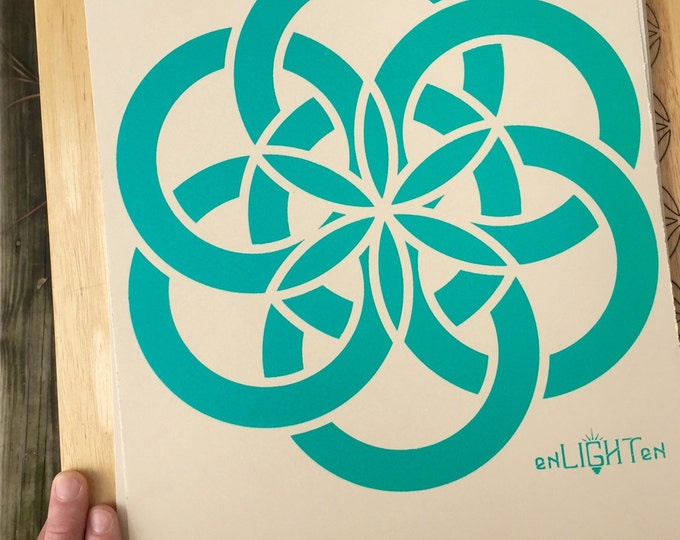 Atom Screen Print, Art By Melanie Bodnar. Limited Edition Prints, Hand Signed And Numbered. Original Sacred Geometry Art Print By Enlighten
