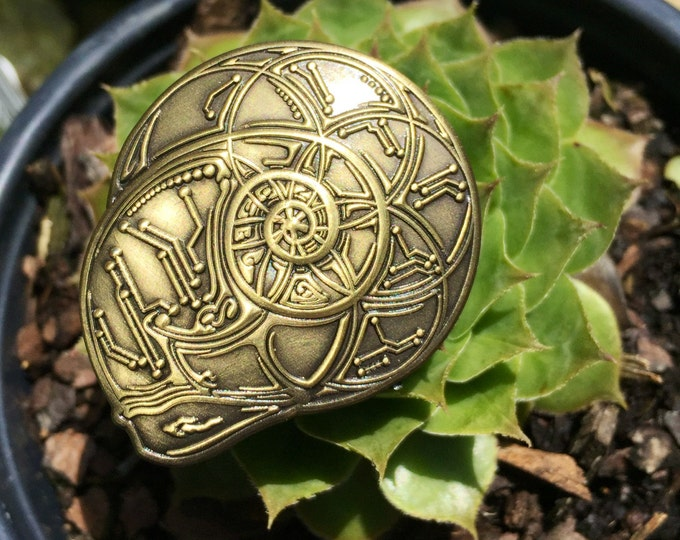 Nautilus Pin. Original Sacred Geometry Art By Enlighten Clothing Company Artists Tyler Epe And Justin Chamberlain