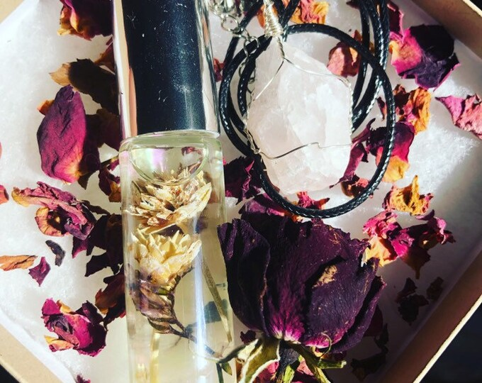 Valentine's Day Gift Set With Essential Oil Aphrodite Blend, Rose Quartz Pendant, And Dried Roses By Enlighten Clothing Co.
