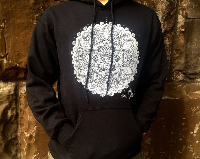 Hoodie, Botanical Omniscience Sacred Geometry Clothing By Enlighten Clothing Co.