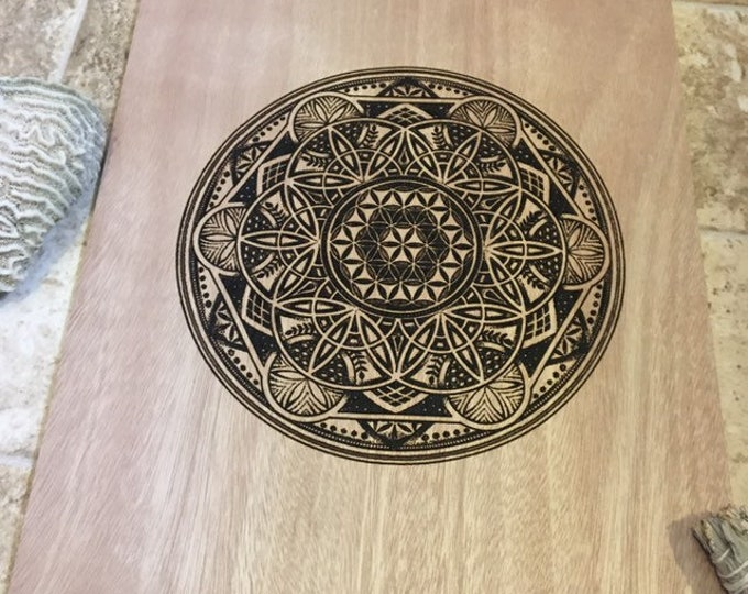 Eternal teacher sacred geometry wood laser engraving