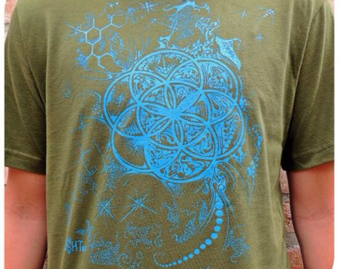 Molecule Flower Seed Of Life Tee Shirt. Sacred Geometry Clothing.