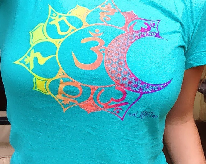 """Ladies Tee, """"Chakras"""" Original Sacred Geometry Clothing by Enlighten"""