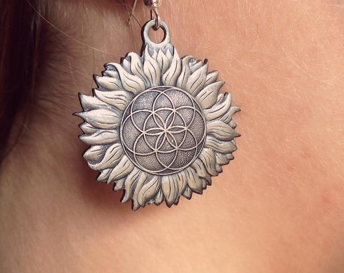 Sunflower Earrings Original Sacred Geometry Jewelery. Design Hand Drawn By Melanie Bodnar.  Original Sacred Geometry Jewelry by Enlighten