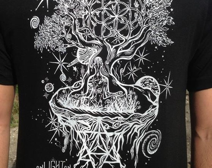 Ascension Organic Bamboo T-Shirt. Design Hand Drawn By Melanie Bodnar. Sustainable Sacred Geometry Clothing By Enlighten Clothing Company