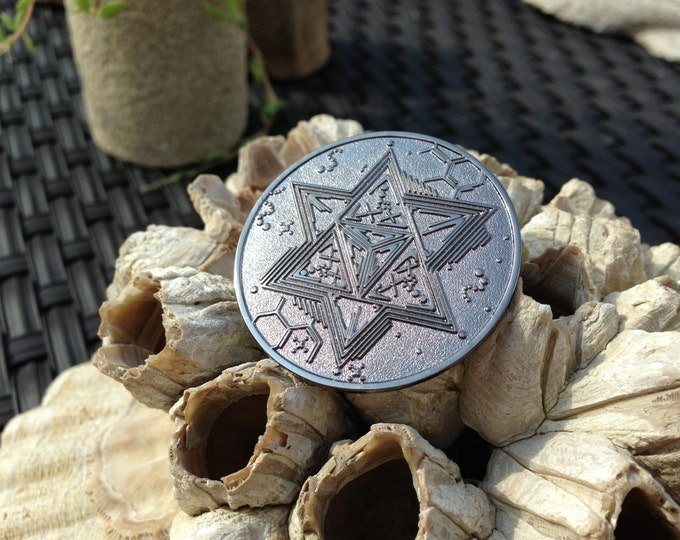 ON SALE!! Black Metal Star Tetrahedron Merkaba Hat Pin, Artwork Handrawn By Artist Tyler Epe Exclusively For Enlighten