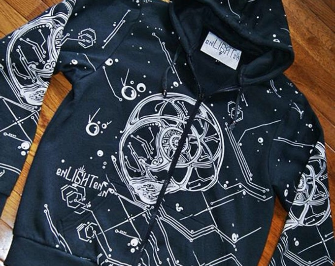 Sacred geometry nautilus hoodie. Original sacred geometry clothing by enlighten clothing company.