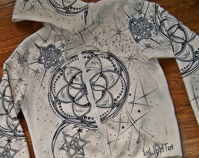 Seed of life, seed star hoodie. Original sacred geometry clothing by enlighten clothing company.