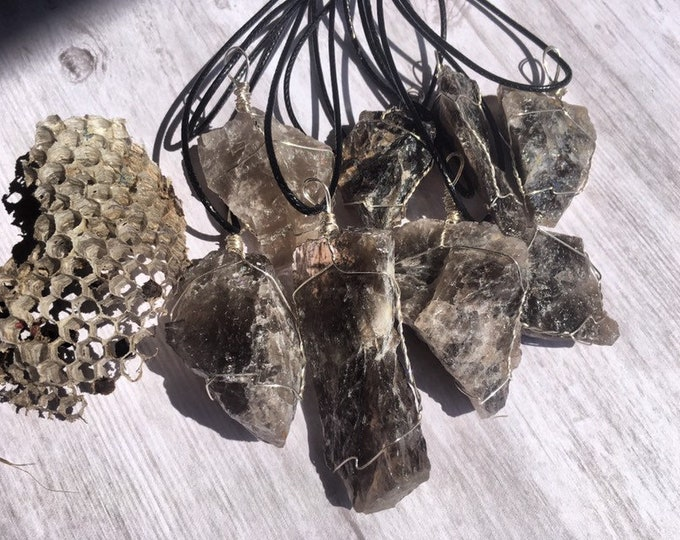 Smoky Quartz Crystal Wire Wrapped Pendants By Enlighten Clothing Co