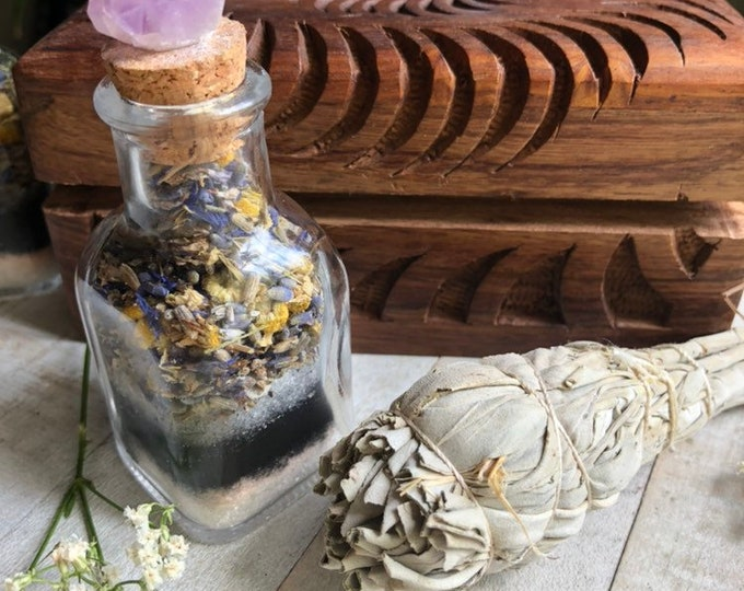 Charcoal And Lavender Bath Soak Set With Sage, Amethyst Crystal Bottle And A Hand Carved Wooden Yin Yang Box By Enlighten Clothing Co