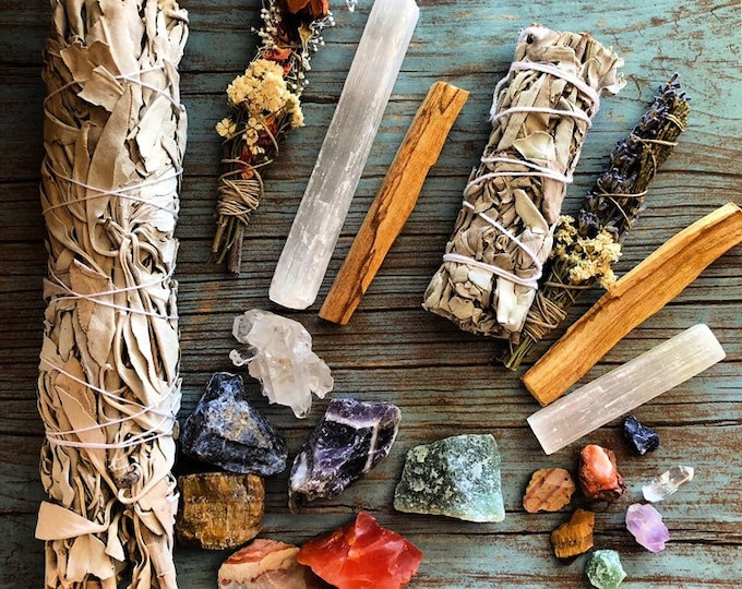 Sage, Palo Santo, Selenite, Cedar Smudge, And Chakra Crystal Set
