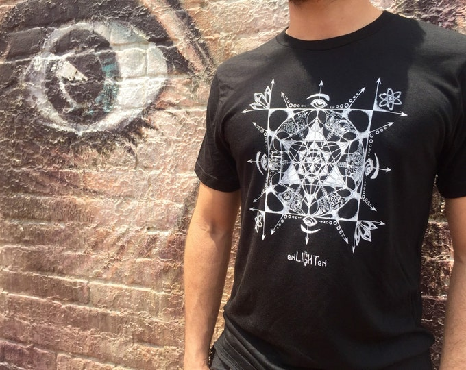 Organic Cotton Bamboo T-Shirt Metatrons Zodiac, Sustainable Eco Friendly Clothing By Enlighten