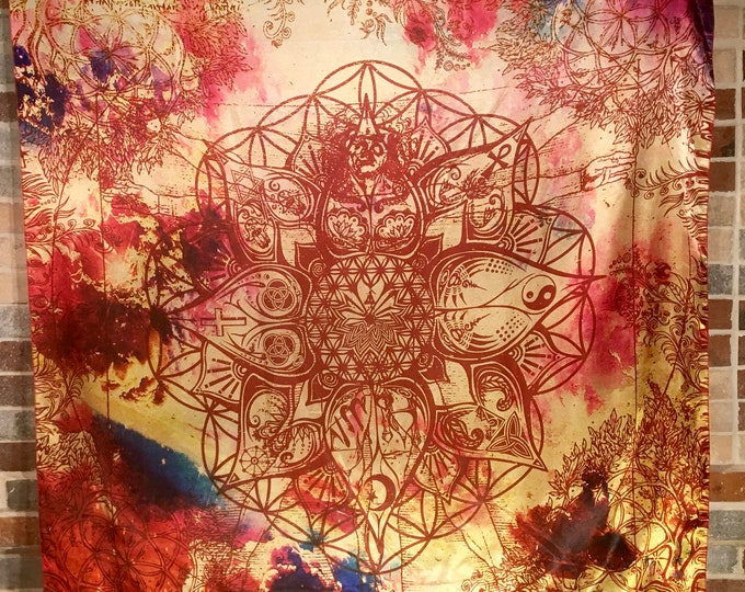 LOTUS, Light Of Truth Universal Soul Interfaith Tapestry, Sacred Geometry Tapestries and Bandanas by Enlighten
