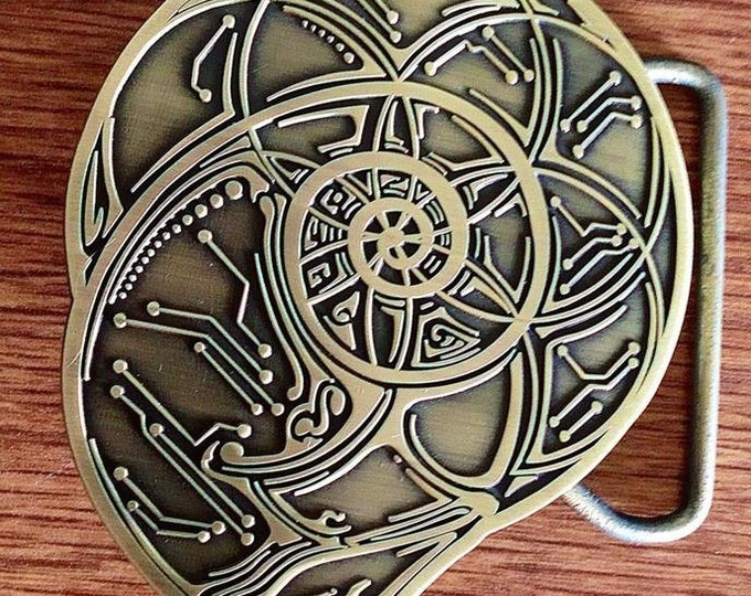 Nautilus Sacred Geometry Belt Buckle, Collaborative Art By Tyler Epe And Justin Chamberlain