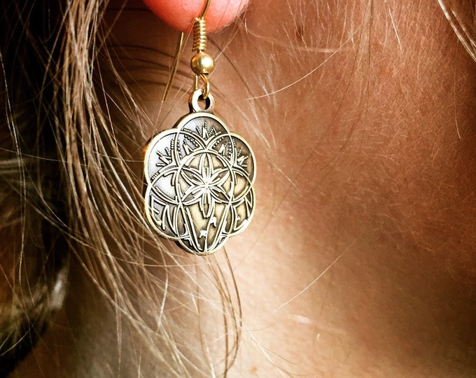 Enlightbulb earrings, Original Sacred Geometry Jewelery. Design Hand Drawn By Tyler Epe.  Original Sacred Geometry Jewelry by Enlighten
