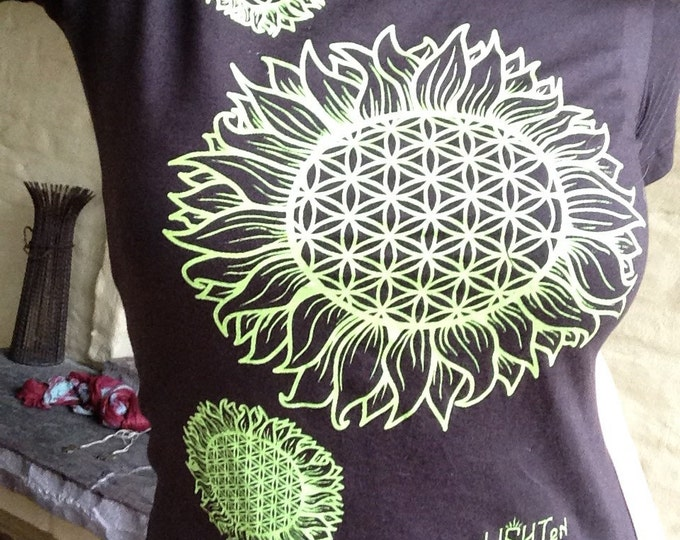 Sunflower Ladies Tee, Original Sacred Geometry Clothing by Enlighten