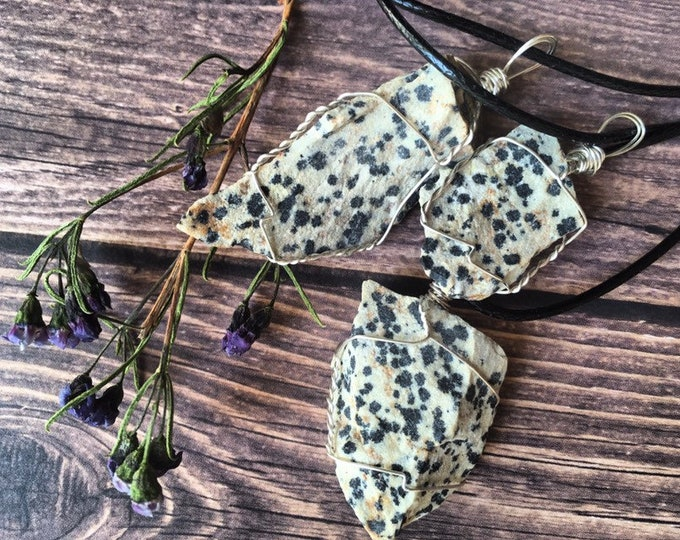 Dalmation Jasper Wire Wrapped Pendants By Enlighten Clothing Co