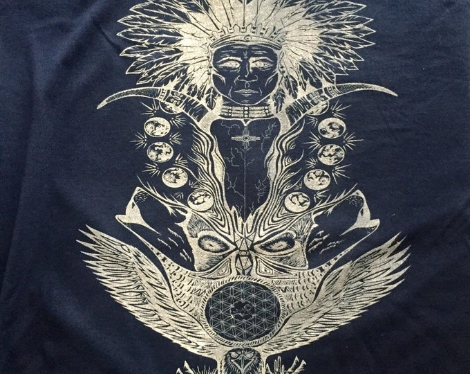Native Totem. Design Hand Drawn By Melanie Bodnar. Organic Sacred Geometry Clothing By Enlighten Clothing Co.