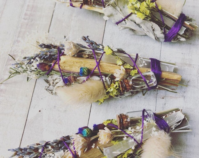 All Natural Air Freshener With Sage, Lavender, Palo Santo, Selenite, Dried Flowers And Lavender Essential Oil. Hand Made By Enlighten