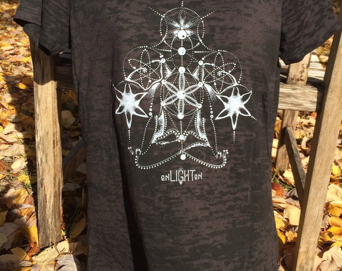 Black Burnout Spiritualize Sacred Geometry Tee by Enlighten Clothing Co.