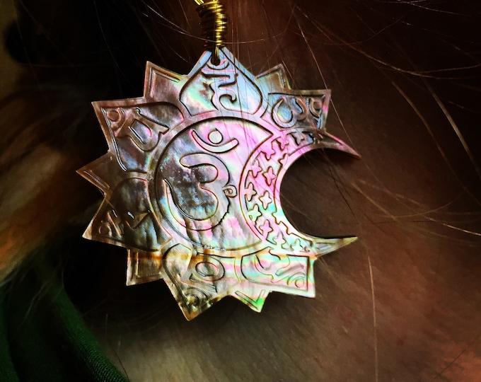 Pink chakras mother of pearl earrings, Designn Hand Drawn By Melanie Bodnar.  Original Sacred Geometry Jewelry by Enlighten