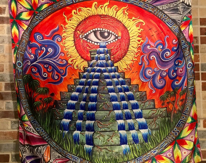 Oneness Pyramid All Seeing Eye Sacred Geometry Tapestry