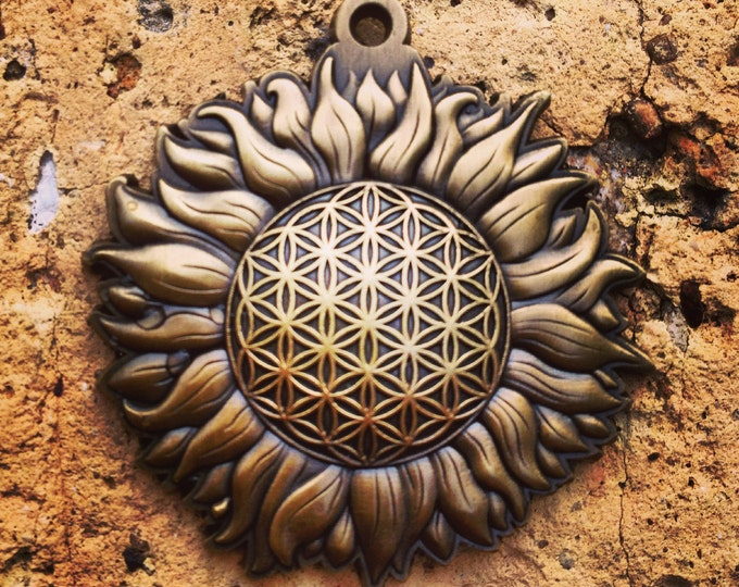 Sun Burst Flower Of Life Pendant Original Sacred Geometry Jewelry by Enlighten