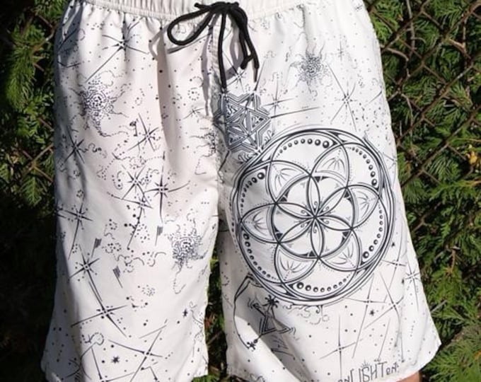 Seed Star Sacred Geometry Swim Trunk Shorts