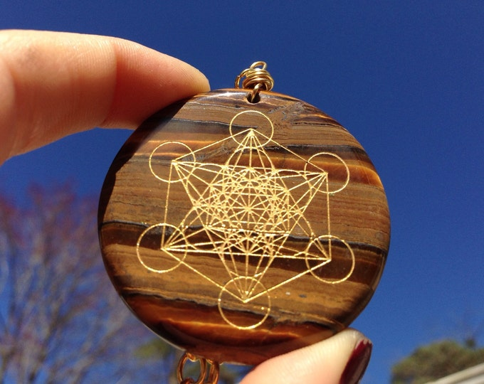 Metatron's Cube Gold And Tiger Iron Crystal Sacred Geometry Pendant