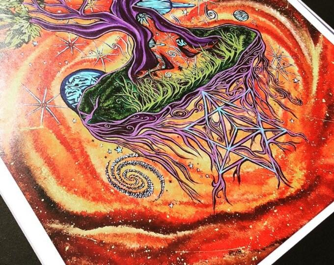 Ascension Matted Prints By Artist Melanie Bodnar Enlighten Clothing Co Merkaba Meditation Tree Of Life