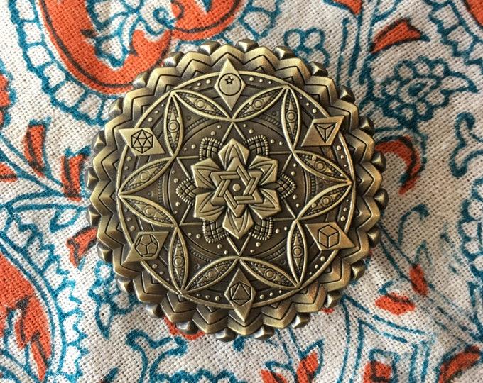 Botanical Omniscience Sacred Geometry Pin Designed By Glenn Thomson For Enlighten Clothing Co