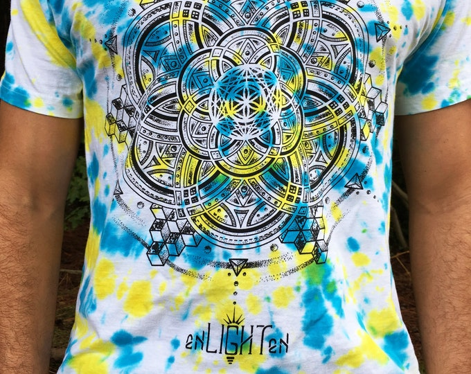 Cubular Sacred Geometry Organic Cotton Tie Dye Tee