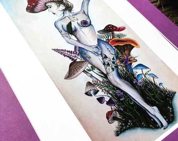 Alice In Mushroomland By Melanie Bodnar Enlighten Clothing Co Wonderland Mushroom Art