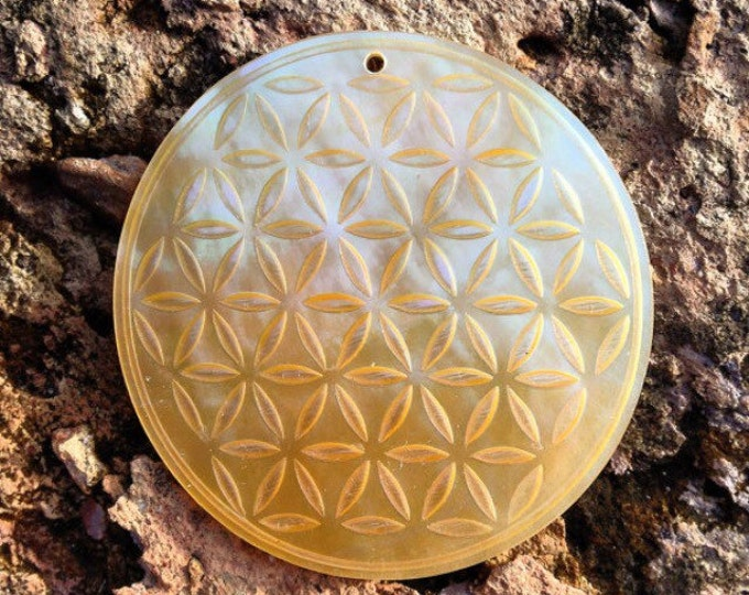 Yellow Flower Of Life Sacred Geometry Mother Of Pearl Pendant.  Original Sacred Geometry Jewelry by Enlighten