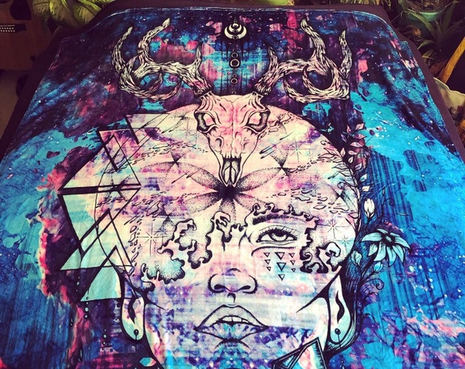 Natural Mystic Fleece Art Blanket By Enlighten Artist And Co Owner Melanie Bodnar. With Skulls, Seed Of Life, Crystal Art, Space Art