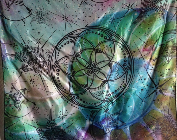 Seed Star, Seed Of Life And Merkaba Tapestry, Design By Artist Tyler Epe. Original Sacred Geometry Tapestries and Bandanas by Enlighten