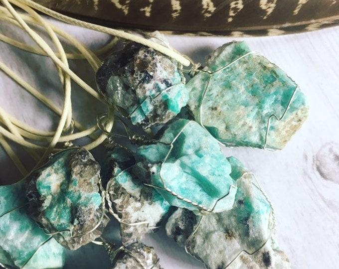 Amazonite And Smoky Quartz Wore Wrapped Pendants By Enlighten Clothing Co